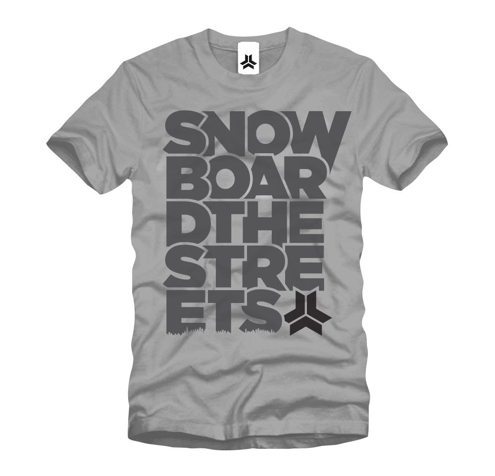 Freebord Apparel T-Shirt Tee Grey Shirt Snowboard the streets