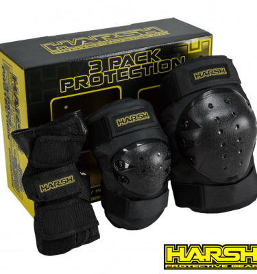 harsh combo pack knee elbow and wrist guards and pads